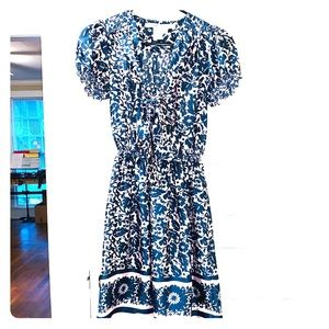 Max Studio pink and blue short sleeve print dress